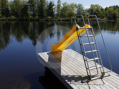 Diy Inground Pool >> Water Slide On The Lake Stock Photos - Image: 14376573