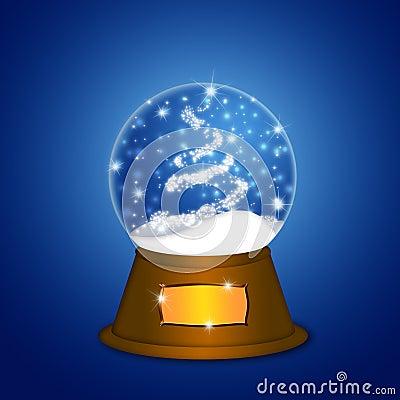 Water Snow Globe with Christmas Tree Sparkles