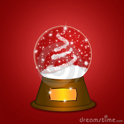 Water Snow Globe with Christmas Tree Sparkles Red