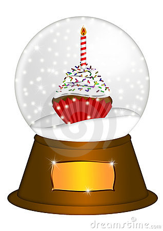Water Snow Globe with Cupcake Illustration