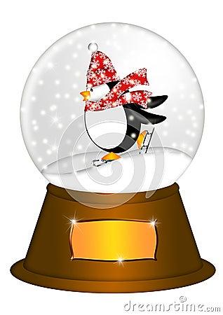 Water Snow Globe Penguin Ice Skating Illustration