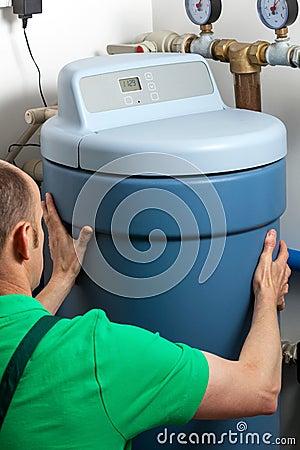Free Water Softener In Boiler Room Stock Photos - 41575183