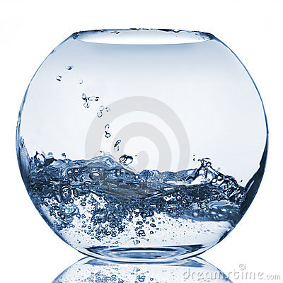 Water splash in glass aquarium