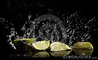 Water splash and limes