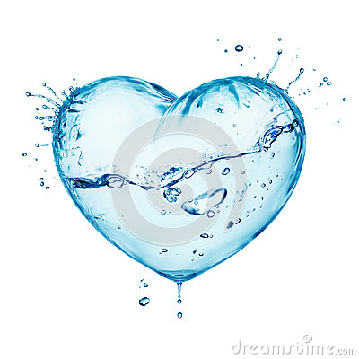 Water splash love heart