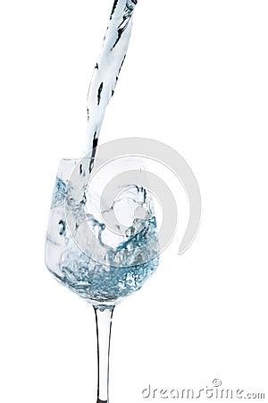Water splash in a wineglass