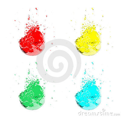Water splashes of different colors