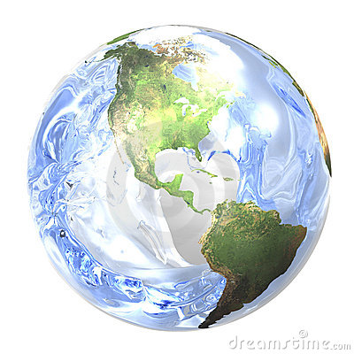Water splashing in earth.