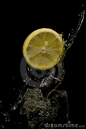 Water splashing with lemon.