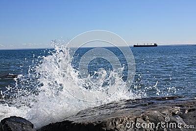 Water Splashing on a rock