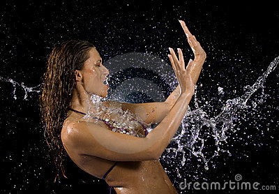 Water splashing woman