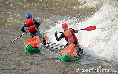 Water sportsmen in threshold Editorial Photo
