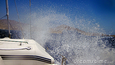 Water spray from boat
