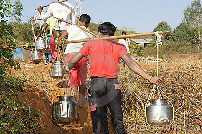 Water supply in the indian rural area Editorial Stock Image