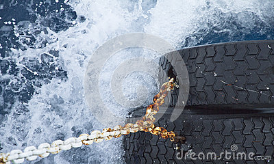 Water surface with splashing waves