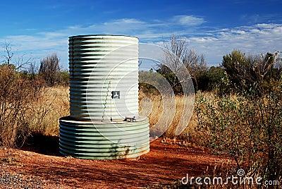 Water tank in Australian desert