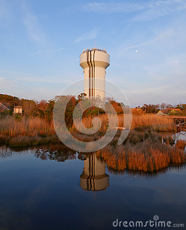 Free Water Tank Reflectio-Sunset Outer Banks Sunset-Duck NC Stock Image - 71577821