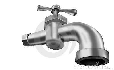 Water tap faucet valve isolated on white