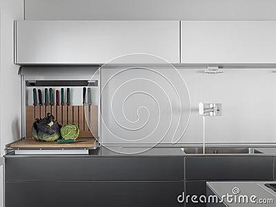 Water tap in a modern kitchen