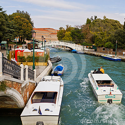 Water taxi at Piazza Roma Venice Editorial Stock Photo
