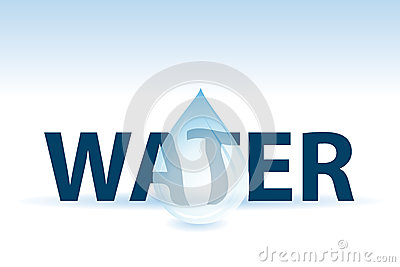 Water text and drop