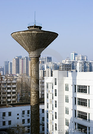 Water tower in city