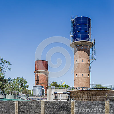 Water Towers and treatment works Editorial Stock Photo
