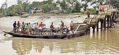 Water transportation of the West Bengal-India Editorial Stock Image