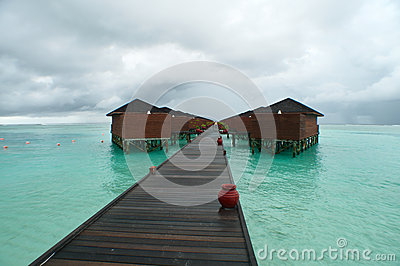 Water villa walkway maldives