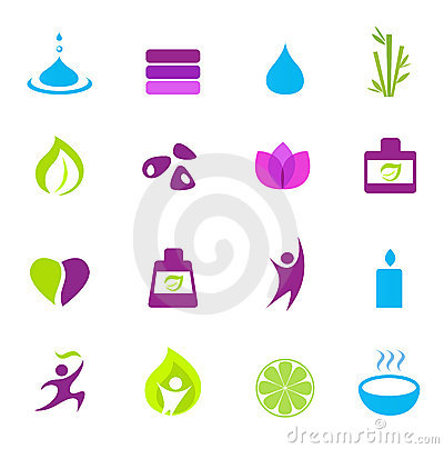 Water, wellness, nature and zen icons - pink