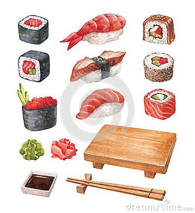 Free Watercollor Illustrations Of A Sushi Stock Images - 38380074