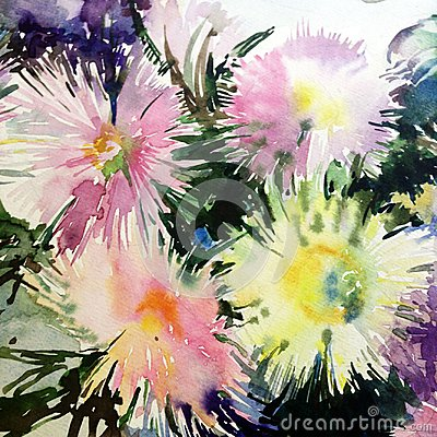 Free Watercolor Art Background Abstract Delicate Light Green Yellow Pink White Asters Flower Royalty Free Stock Photos - 105509338