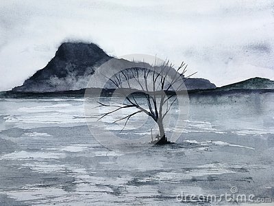 Watercolor asia ink landscape mountain the man Stock Photo