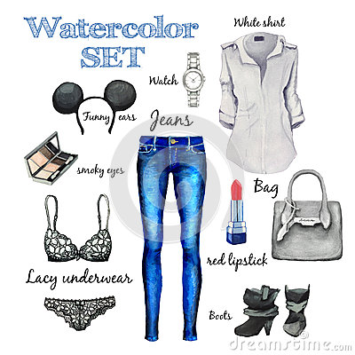 Watercolor Autumn Classic Collection Fashion Style Items Of Clothing And Accessories Jeans
