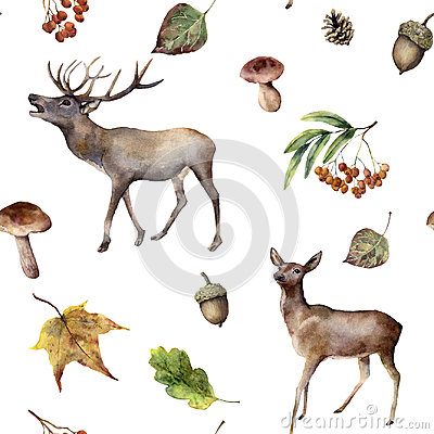 Free Watercolor Autumn Forest Seamless Pattern. Hand Painted Ornament With Deers, Rowan, Mushrooms, Acorn, Fall Leaves Stock Photos - 97481913