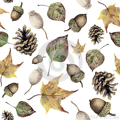 Free Watercolor Autumn Forest Seamless Pattern. Hand Painted Pine Cone, Acorn, Berry And Yellow And Green Fall Leaves Stock Photo - 79131790