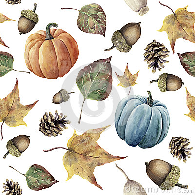 Watercolor autumn seamless pattern. Hand painted pine cone, acorn, berry, yellow and green fall leaves and pumpkin ornament isolat Cartoon Illustration