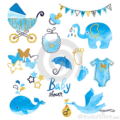Watercolor Baby Shower boy set. Vector Illustration