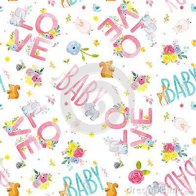 Free Watercolor Baby Vector Pattern Stock Images - 105692474