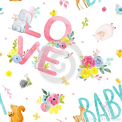 Free Watercolor Baby Vector Pattern Stock Photography - 106017052