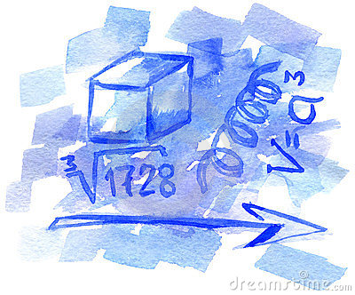 Watercolor background with mathematical symbols