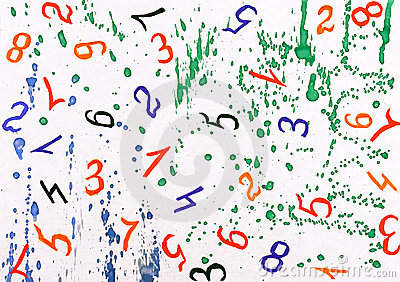 Watercolor background with numbers
