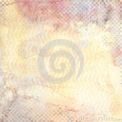 Watercolor background with zig-zag and black polka dot patterns Stock Photo
