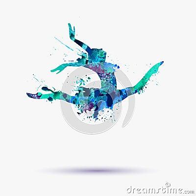 watercolor ballerina girl gymnast stock vector image