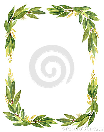Free Watercolor Bay Leaf Wreath Isolated On White Background. Stock Photography - 90291622