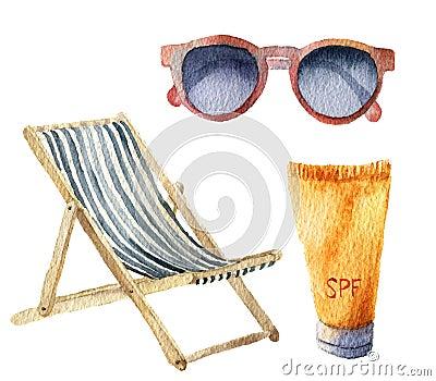 Watercolor beach suntan vacation set. Hand drawn summer objects: sunglasses, beach chair and sunblock or suntan cream. Illustratio Stock Photo