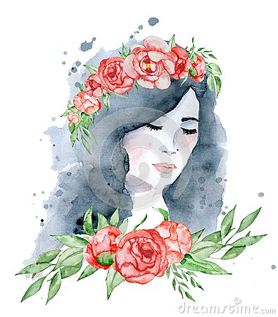 Free Watercolor Beauty Girl With Dark Hair And Floral Wreath, Red And Indigo Peony Flowers Stock Photos - 110508433