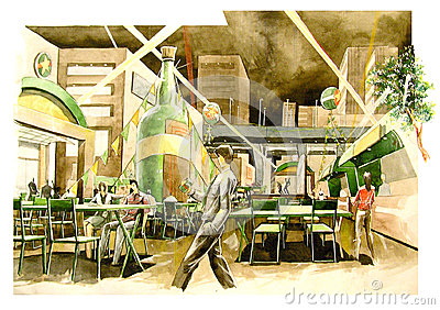 watercolor beer garden atmosphere