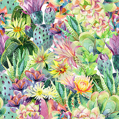Free Watercolor Blooming Cactus Background Royalty Free Stock Image - 72285076