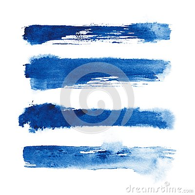 Free Watercolor. Blue Abstract Painted Ink Strokes Set On Watercolor Paper. Ink Strokes. Flat Kind Brush Stroke. Royalty Free Stock Images - 110527919